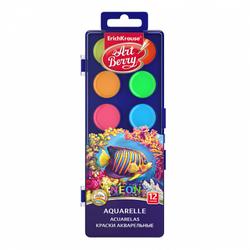 Краски акварельные ArtBerry Неон 12 цветов с УФ защитой яркости 41727