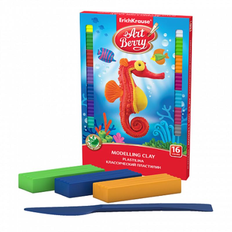 Классический пластилин ArtBerry® с Алоэ Вера 16 цветов со стеком, 288г 41764
