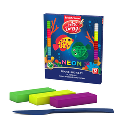 Классический пластилин ArtBerry® с Алоэ Вера Neon 12 цветов со стеком, 216г 41767