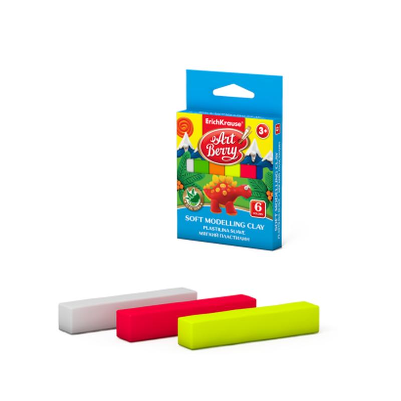 Мягкий пластилин ArtBerry® с Алоэ Вера 6 цветов, 90г (картон с европодвесом) 41777