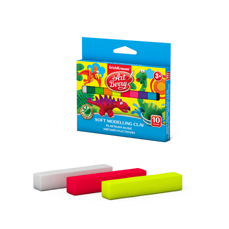 Мягкий пластилин ArtBerry® с Алоэ Вера 10 цветов, 150г (картон с европодвесом) 41778