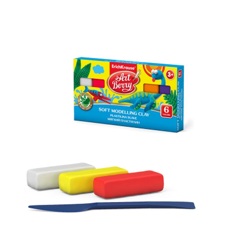Мягкий пластилин ArtBerry® с Алоэ Вера 6 цветов со стеком, 120г (коробка) 41780