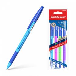 Ручка шариковая ErichKrause® R-301 Neon Stick&Grip 0.7, цвет чернил синий (в пакете по 4 шт.) 42023