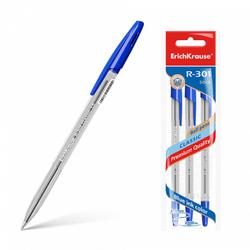 Ручка шариковая ErichKrause® R-301 Classic Stick 1.0, цвет чернил синий (в пакете по 3 шт.) 42618