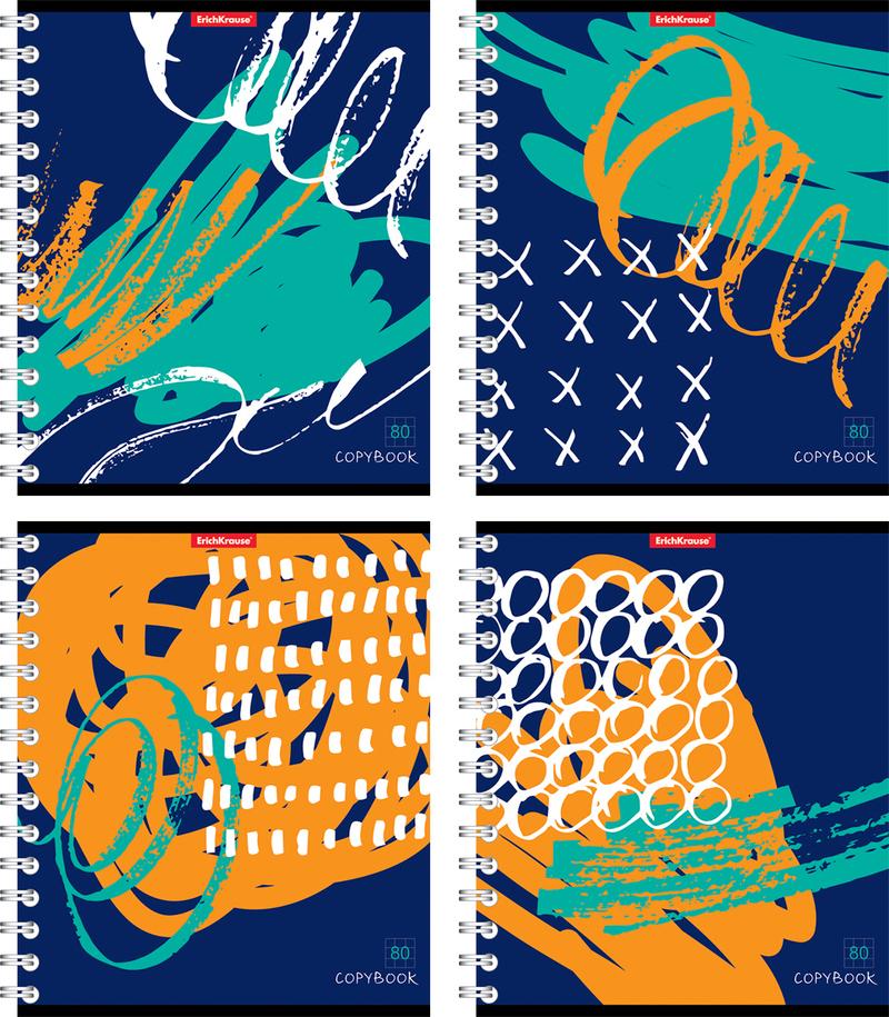 Тетрадь на спирали 80 листов в клетку Абстракт-деко 42686