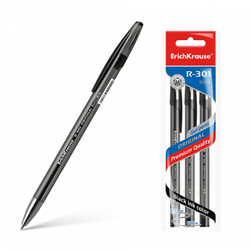 Ручка гелевая ErichKrause® R-301 Original Gel 0.5, цвет чернил черный (в пакете по 3 шт.) 42724