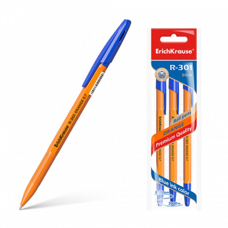 Ручка шариковая R-301 ORANGE 0.7 Stick в наборе из 3 штук (пакет) 42743