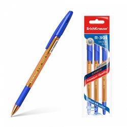 Ручка шариковая ErichKrause® R-301 Amber Stick&Grip 0.7, цвет чернил синий (в пакете по 3 шт.) 42748