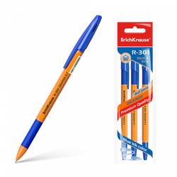 Ручка шариковая ErichKrause® R-301 Orange Stick&Grip 0.7, цвет чернил синий (в пакете по 3 шт.) 42752