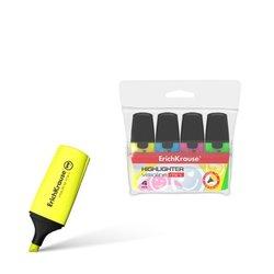 Текстмаркер ErichKrause® Visioline Mini, цвет чернил: желтый, зеленый, розовый, голубой (в футляре по 4 шт.) 42757