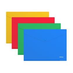 Папка-конверт на кнопке пластиковая  ErichKrause® Classic, непрозрачная, A4, ассорти 42920