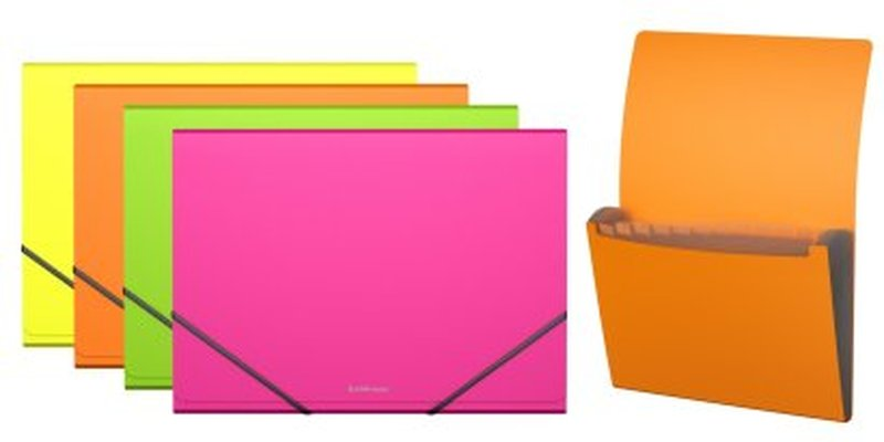 Папка-картотека пластиковая  ErichKrause® Neon, с 12 отделениями, A4, ассорти 43002