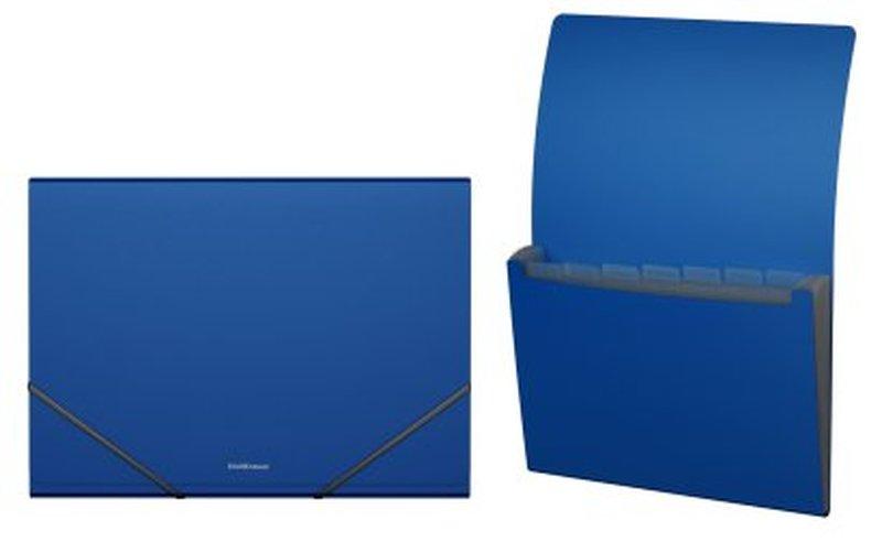 Папка-картотека пластиковая  ErichKrause® Classic, с 6 отделениями, A4, синий 43038