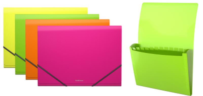Папка-картотека пластиковая  ErichKrause® Glance Neon, с 12 отделениями, A4, ассорти (в коробке-дисплее по 6 шт.) 43120