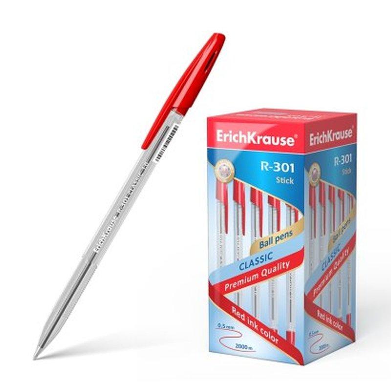 Ручка шариковая ErichKrause® R-301 Classic Stick 1.0, цвет чернил красный 43186