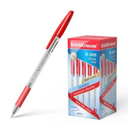 Ручка шариковая ErichKrause® R-301 Classic Stick&Grip 1.0, цвет чернил красный 43188