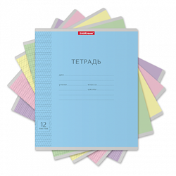 Тетрадь 12 листов частая косая линия для прописей. Классика ассорти 43334