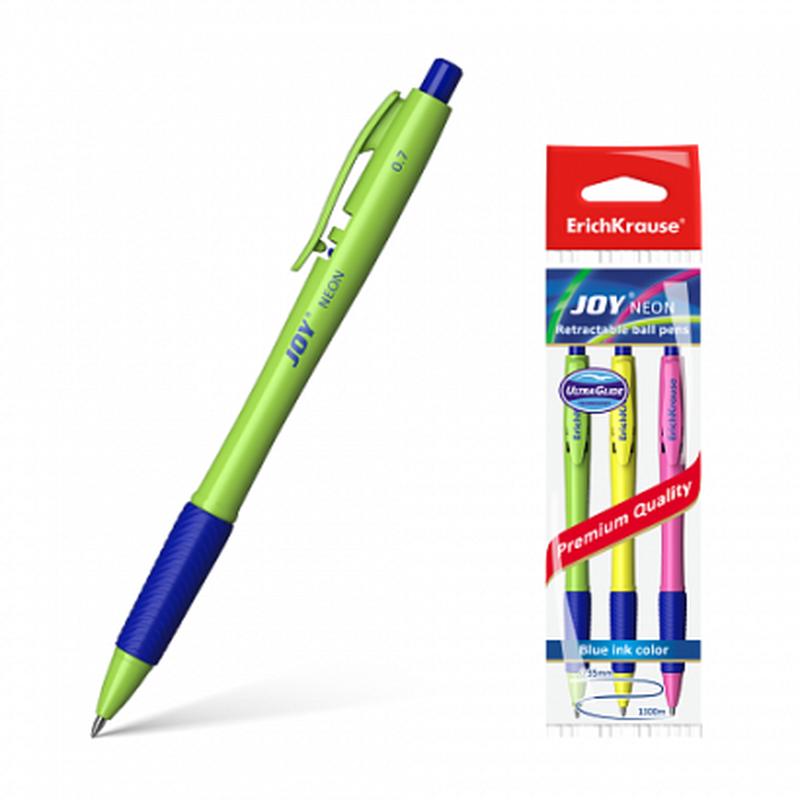 Ручка шариковая автоматическая ErichKrause® JOY® Neon, Ultra Glide Technology, цвет чернил синий (в пакете по 3 шт.) 43344