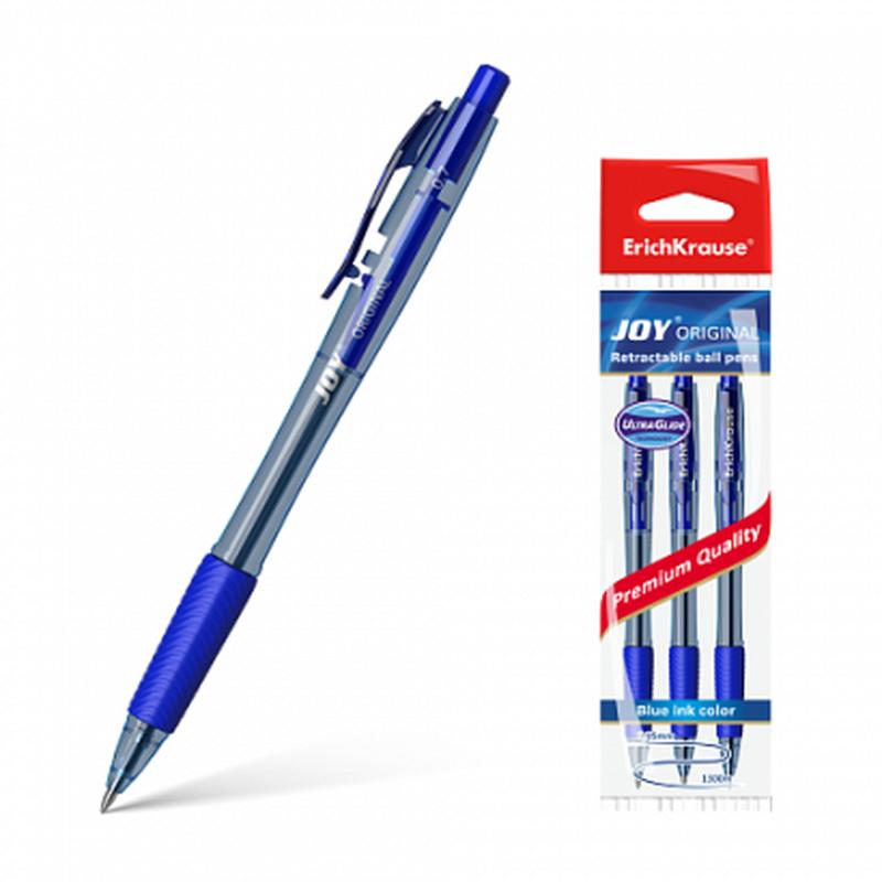 Ручка шариковая автоматическая ErichKrause® JOY® Original, Ultra Glide Technology, цвет чернил синий (в пакете по 3 шт.) 43356