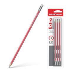 Чернографитный шестигранный карандаш с ластиком ErichKrause® Extra HB (в блистере по 3шт.) 43573