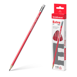 Чернографитный трехгранный карандаш с ластиком ErichKrause® Extra HB 43574