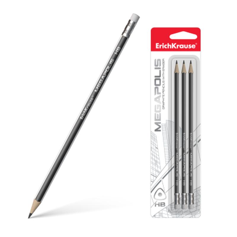 Чернографитный трехгранный карандаш с ластиком ErichKrause® MEGAPOLIS® HB (в блистере по 3шт.) 43581