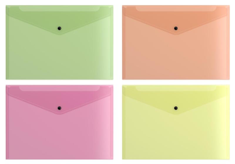 Папка-конверт на кнопке пластиковая  ErichKrause® Fizzy Neon, полупрозрачная, A4, ассорти 44431