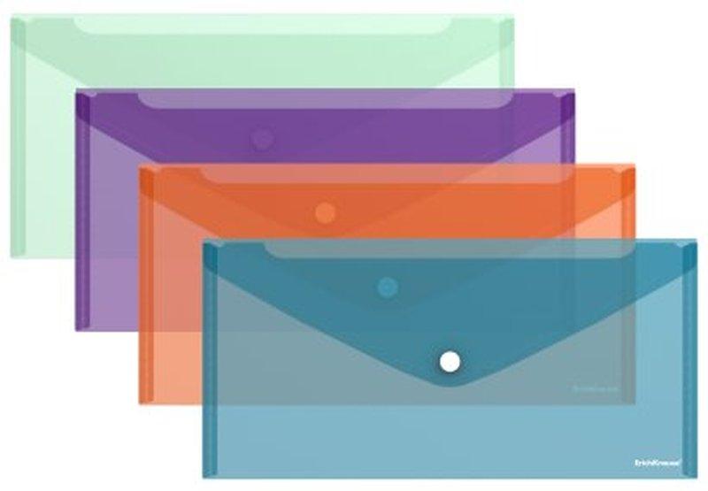 Папка-конверт на кнопке пластиковая  ErichKrause® Style, полупрозрачная, Travel, ассорти  44439