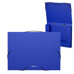 Папка на резинках пластиковая  ErichKrause® Classic, с ручкой, 30мм, A4, синий 44444