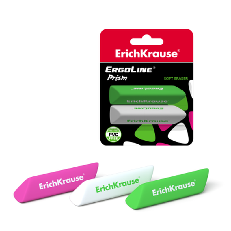Ластик ErichKrause® ErgoLine® Prism (в блистере по 2шт.) 44480