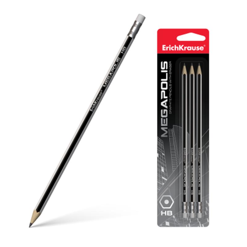 Чернографитный шестигранный карандаш с ластиком ErichKrause® MEGAPOLIS® HB (в блистере по 3шт.) 44490