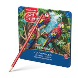 Цветные карандаши шестигранные ArtBerry® Premium 24 цвета (металлическая коробка) 44631