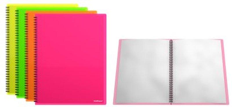 Папка файловая пластиковая на спирали ErichKrause® Neon, с 20 прозрачными карманами, А4 44699