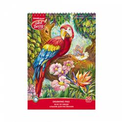 Альбом для рисования на спирали А4 20 листов ArtBerry® Попугай, микроперфорация (спираль по узкой стороне) 44994
