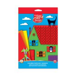 Цветная бумага мелованная самоклеящаяся в папке с подвесом ArtBerry®, В5, 10 листов, 10 цветов, игрушка-набор для детского творчества 44996