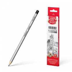 Чернографитные шестигранные карандаши ArtBerry® 2H, H, HB, HB, B, 2B (в коробке 6 шт.) 45389