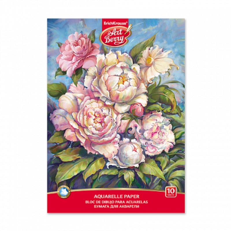 Альбом для рисования с акварельной бумагой А4 10 листов ArtBerry® Пионы 45438
