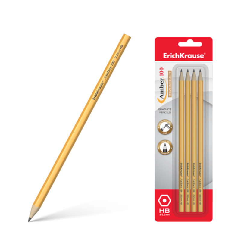 Чернографитный шестигранный карандаш ErichKrause® Amber 100 HB (в блистере по 4шт.) 45475
