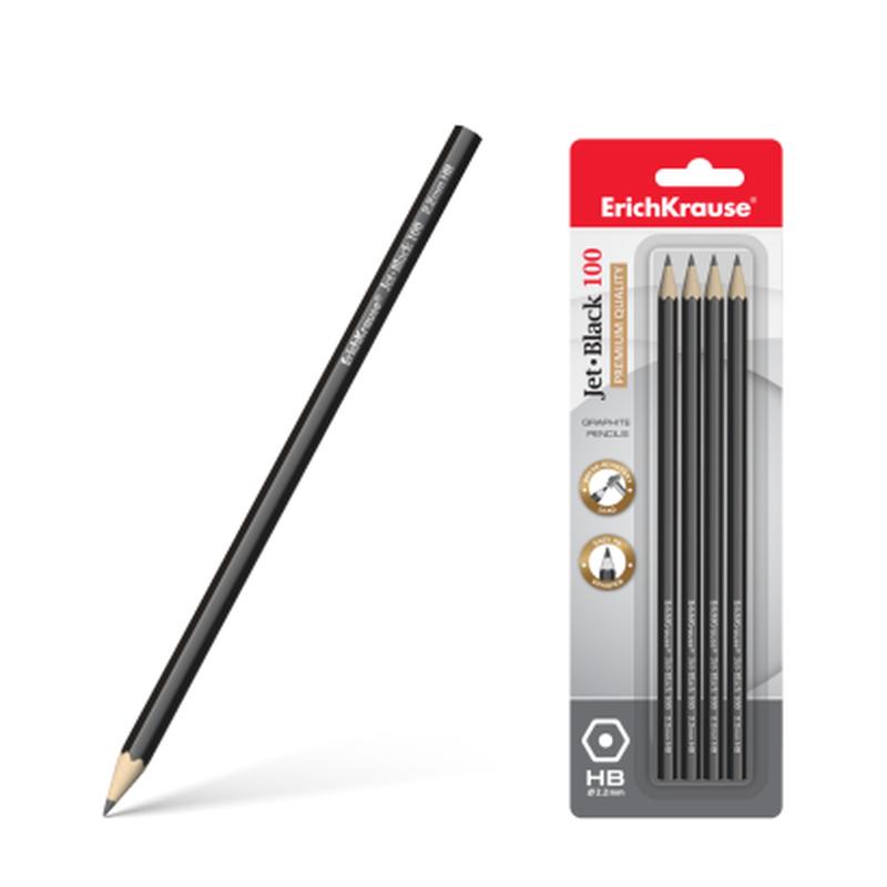 Чернографитный шестигранный карандаш ErichKrause® Jet Black 100 HB (в блистере по 4шт.) 45477