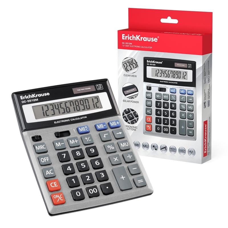 Калькулятор ErichKrause® 12-разрядов DC-5512M. 45512