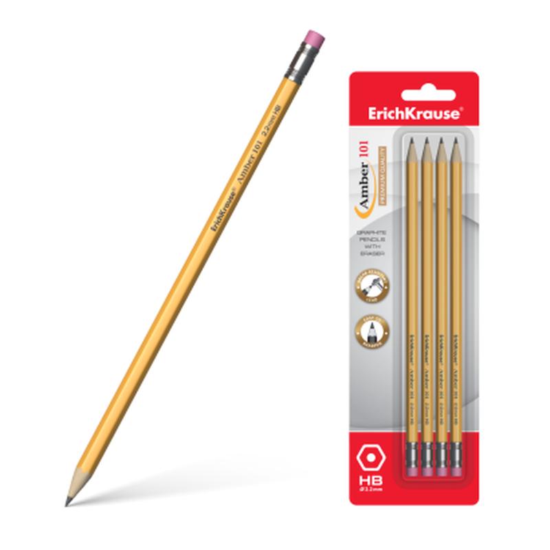 Чернографитный шестигранный карандаш с ластиком ErichKrause® Amber 101 HB (в блистере по 4 шт.) 45603
