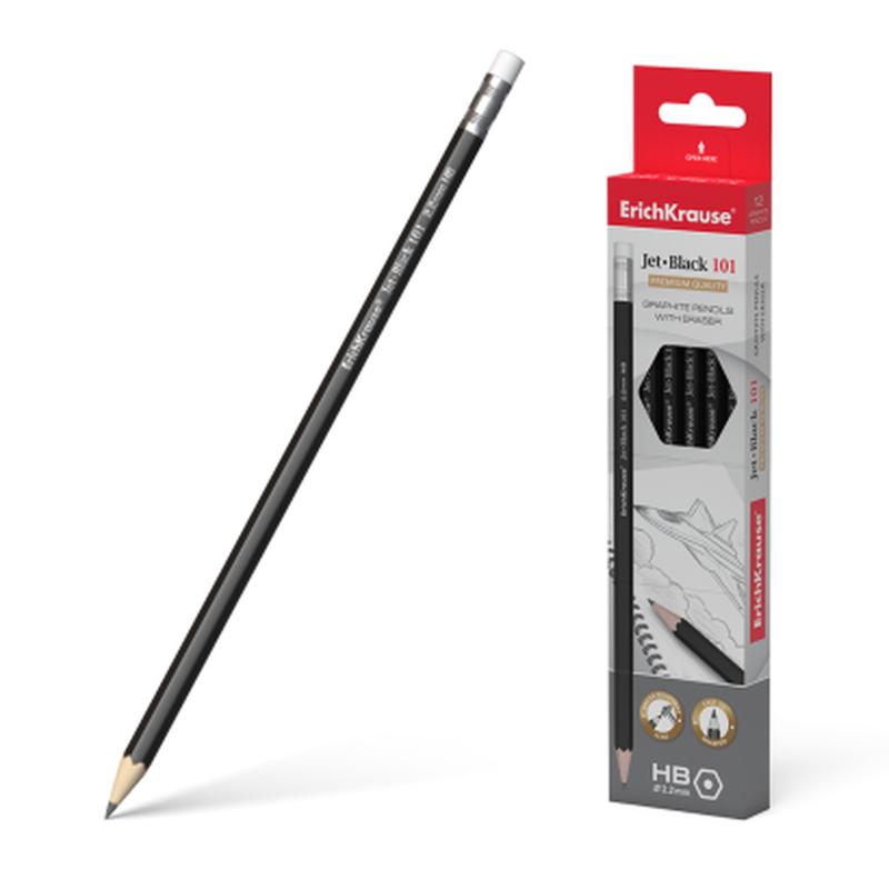 Чернографитный шестигранный  карандаш с ластиком  ErichKrause® Jet Black 101 HB 45605