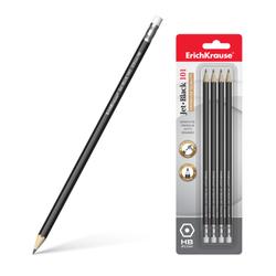 Чернографитный шестигранный  карандаш с ластиком  ErichKrause® Jet Black 101 HB (в блистере по 4 шт.) 45607