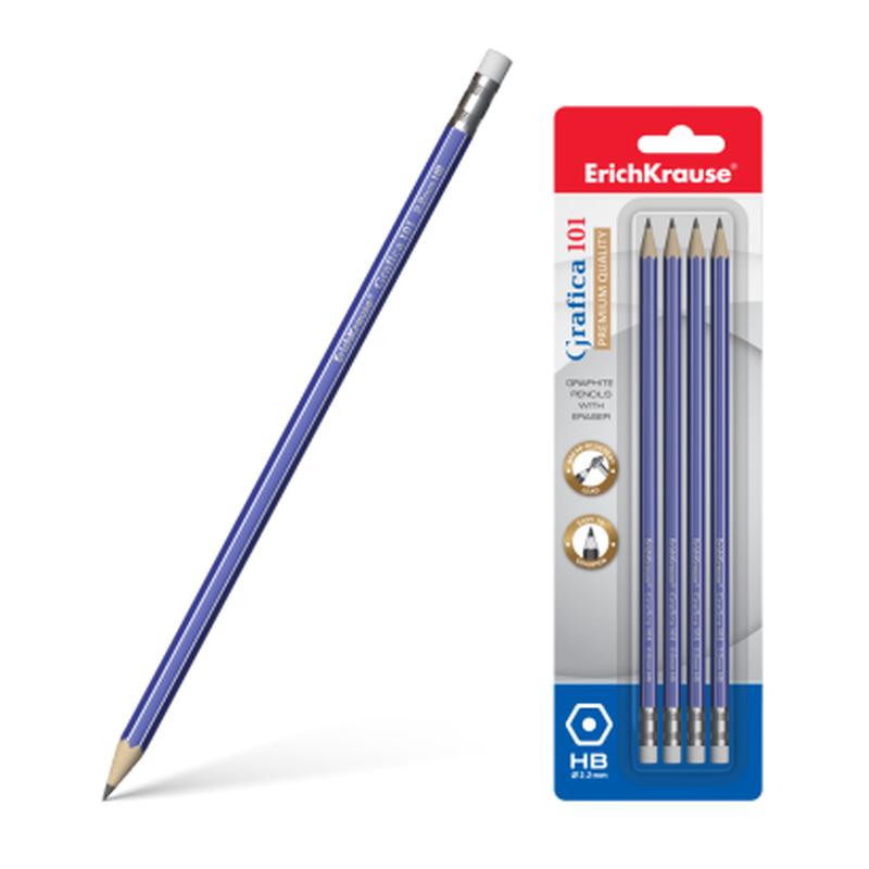 Чернографитный шестигранный карандаш с ластиком  ErichKrause® Grafica 101 HB (в блистере по 4 шт.) 45615