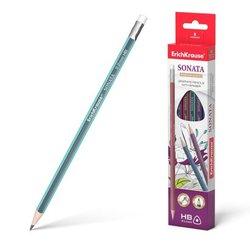 Чернографитный трехгранный карандаш с ластиком  ErichKrause® Sonata HB 45616