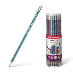 Чернографитный трехгранный карандаш с ластиком  ErichKrause® Sonata HB 45617
