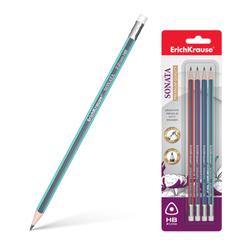 Чернографитный трехгранный карандаш с ластиком  ErichKrause® Sonata HB (в блистере по 4 шт.) 45618
