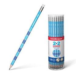 Чернографитный  круглый карандаш с ластиком ErichKrause® 2x2 (таблица умножения) HB 45619