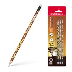 Чернографитный круглый карандаш с ластиком  ErichKrause® Savanna HB (в блистере по 3 шт.) 45621