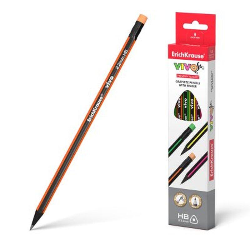 Чернографитный трехгранный карандаш с ластиком  ErichKrause® VIVO® HB 45622